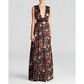 Alice + Olivia Maxi Dress - Triss Romantic Floral Silk  Bedecked in fall's bold blooms, this floral-adorned dress by Alice + Olivia flourishes with a garden's worth of glam. Silk; combo 1: polyester; combo 2: lambskin leather; lining: polyester/spandex Dry clean Imported Plunging v neck, sleeveless, pleating at waist with leather waistband Button closure and cutout at back, exposed back zip closure, lined