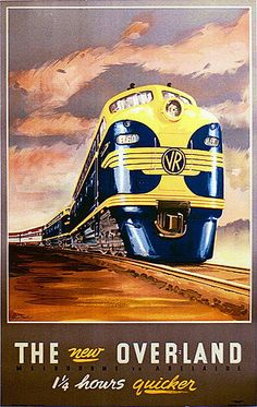 Clive Trewin | The New Overland. Melbourne to Adelaide, 1940s. Colour process lithograph.