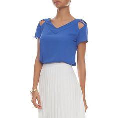 Blusa tiras mangas - azul - OQVestir