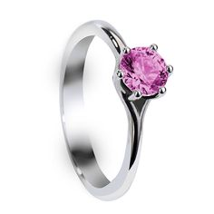 Engagement Rings - BLAIRE Six Prong Round Solitaire Pink Sapphire Engagement Ring with Polished Finish - LarsonJewelers.com