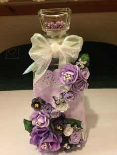Bottle with handmade flowers