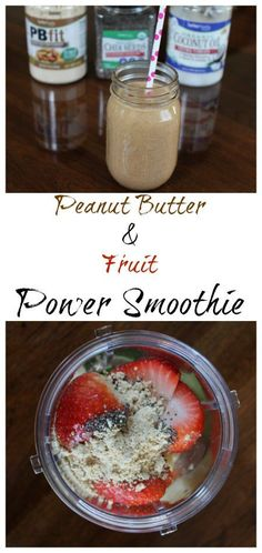 Peanut Butter & Fruit Power Smoothie I am really excited to share this Peanut Butter and Fruit Smoothie Recipe with you guys today.  Smoothies recipes