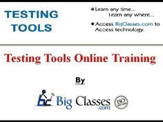 http://www.bigclasses.com/testing-tools-online-training.html Software testing is an investigation conducted to provide stakeholders with information about the quality of the product or service under test.