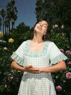 Cete The Windflower Dress - Green/White | Garmentory Printed Matter, Silk Chiffon, Ruffle Sleeve, Summer Sale, Green Dress, Dress Up, Women Wear, How To Wear, Cotton