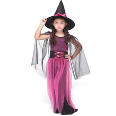 Hot Selling Girl Witch Dress Costume Halloween Costume For Kids Stage & Dance Wear Toddler Long Dress Party Cosplay Rose Red Halloween Fancy Dress, Halloween Cosplay, Halloween Outfits, Halloween Costumes For Kids, Costumes Kids, Halloween 2016, Dress Up Costumes, Cute Costumes, Cosplay Dress