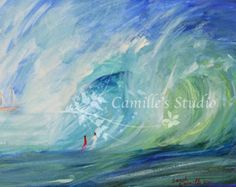 """11x14"""" Print of Watercolor painting """"Into the Wave"""""""