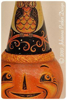Halloween folk art Jack-o'-lantern by Johanna Parker