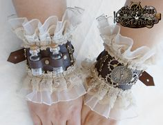 This is one of a kind steampunk leather Victorian lace cuff.
