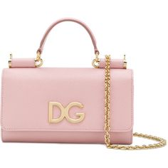 Dolce & Gabbana mini Von wallet crossbody bag (€880) ❤ liked on Polyvore featuring bags, handbags, shoulder bags, pink purse, evening purses, pink shoulder bag, crossbody purse and pale pink purse