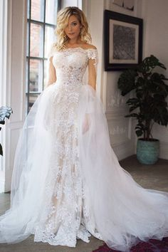 This wedding dress with detachable tulle train and with long off the shoulder sleeves is created for bride who loves fashion style. - May 04 2019 at Wedding Dress Train, Lace Mermaid Wedding Dress, Wedding Dress Sleeves, Perfect Wedding Dress, Best Wedding Dresses, Tulle Wedding, Mermaid Dresses, Wedding Gowns, Wedding Frocks