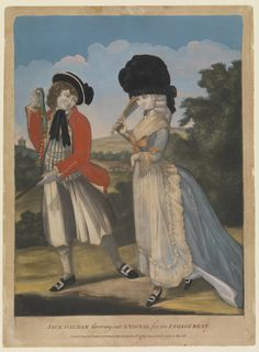 Jack Oakham throwing out a Signal for an Engagement (caricature) - 24th May 1781. Note behavior of skirt - the entire thing is trained, but the side isn't being dragged back. Artistic license!