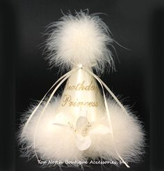 Birthday Princess Ivory Marabou Party Hat