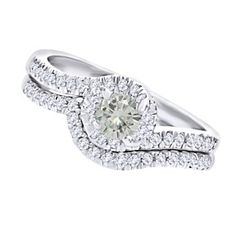 4 Ct Round Cut Genuine Moissanite 14K Gold Over Bypass Engagement & Wedding Bridal Ring Set by JewelryHub on Opensky