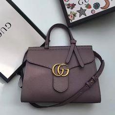 b6c9f3fe2bd9 Gucci GG Marmont Leather Top Handle Bag 421890 Gray Purple 2016 Stylish  Handbags, Gucci Handbags