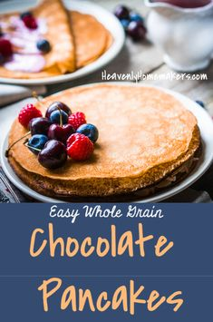 Simply add unsweetened cocoa powder to our pancake batter recipe to make these amazing Easy Whole Grain Chocolate Pancakes. Then top them with peanut butter or fresh berries and cream. Homemade Pancakes, Pancakes Easy, Pancakes And Waffles, Homemade Peanut Butter, Chocolate Peanut Butter, Chocolate Recipes, Peach Syrup, Batter Recipe, Chocolate Pancakes