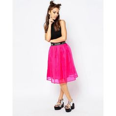 Jaded London Midi Skater Skirt ($41) ❤ liked on Polyvore featuring skirts, pink, white flared skirt, pink circle skirt, pink midi skirt, white circle skirt and elastic waist skirt