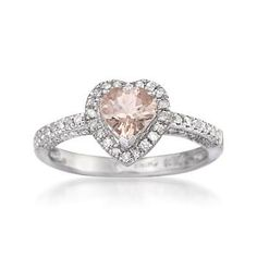 Pink Morganite and Diamond Heart Ring In Sterling Silver. Oh, so pretty in pink!