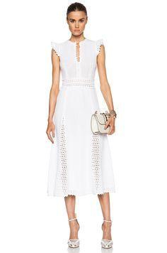 Image 1 of Red Valentino Crochet Stitching Dress in Blanco