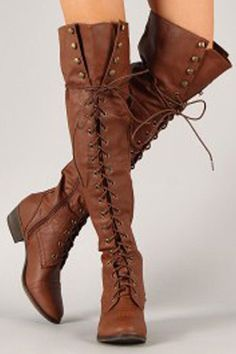 Tie up knee high flat boots. - Tan Available