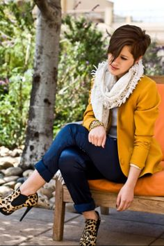 mustard blazer and leopard shoes. And hair is on point