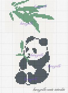 free- panda 3 C2c Crochet, Cross Stitch Animals, Cross Stitching, Oriental, Projects To Try, Creatures, Teddy Bear, Crafty, Pattern