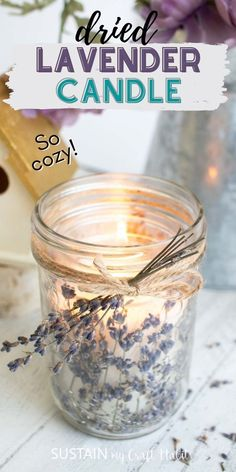 With the gentle scent of lavender and rustic twine accents, these simple DIY mason jar candles make pretty farmhouse style decor and handmade gift ideas. #candlemaking #lavendercrafts #handmadegifts Mason Jar Candles, Beeswax Candles, Mason Jar Diy, Diy Candles, Diy Furniture Projects, Diy Craft Projects, Decor Crafts, Diy Crafts, Diy Interior