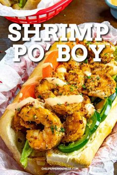 Grilled Shrimp Po' Boy Recipe - This lighter shrimp po' boy recipe is piled high with seasoned grilled shrimp served on crispy toasted French rolls, topped with creamy Cajun remoulade sauce. #Sandwich #Cajun #Shrimp via @chilipeppermadness Creole Recipes, Cajun Recipes, Shrimp Recipes, Fish Recipes, Cooking Recipes, Cajun Cooking, Recipies, New Orleans Bbq Shrimp, Po Boy Sandwich