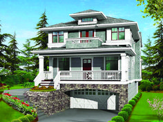 Eplans Craftsman House Plan - Classic Craftsman Styling with Garage Under - 3506 Square Feet and 4 Bedrooms from Eplans - House Plan Code HW. Beach House Plans, Garage House Plans, Dream House Plans, House Floor Plans, Build House, Car Garage, Two Storey House Plans, House With Balcony, Prairie Style Houses