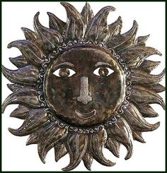"""Sun Wall Hanging - Haitian Steel Drum Metal Wall Decor - 24""""  - Haitian Metal Wall Hanging - Ethnic Art - Recycled Steel Drum - - Haitian Metal Art - Recycled Steel Drum Art of Haiti, Metal Wall Decor - Handcrafted Metal Art - Haitian Art – Haitian Steel Drum Metal Art –  Metal Wall Art of Haiti - Haiti - Metal Art - Home Décor - Metal Wall Art - * Pin this one to your wish list! *  – View more handcrafted metal wall decor at www.HaitiGallery.com"""
