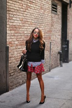 Sweater: Wal Mart (similar), Shirt: Target, Skirt: Deb Shops, Earrings: H&M, Sunnies: Amazon,...
