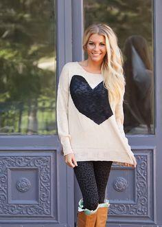 Modern Vintage Boutique - I Heart Style Sweater Black Heart Ivory Sweater, $36.00 (http://www.modernvintageboutique.com/i-heart-style-sweater-black-heart-ivory-sweater.html)