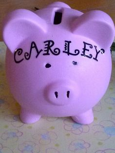 Dollar Tree Piggy Bank with stick on letters