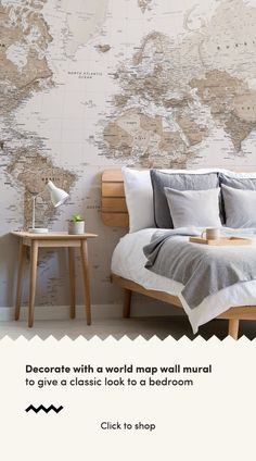 Introduce the Sepia World Map Wallpaper Mural into your interior, a design that is impactful, yet the subtle tones allow it to remain understated in your space. World Map Bedroom, World Map Mural, World Map Wallpaper, Bedroom Wall, Bedroom Decor, Bedroom Themes, Bedroom Ideas, Bedrooms, Earth Tone Bedroom