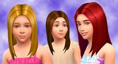 The Sims 4 | My Stuff: Straight Hair for Girls Hairstyle | base game hairs converted for female child