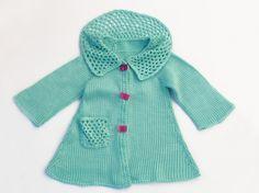 Stylish turquoise knitted coat