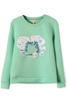Essential Sequined Floral Green Sweatshirt