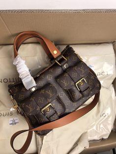 Louis Vuitton woman shoulder bag double pockets handbag original leather version