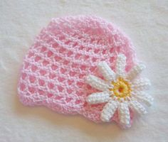 Crochet baby daisy pink flower hat