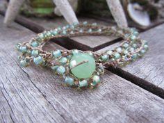 3x Wrap  Crochet bracelet  Sea Foam petite Czech by jewlsoflove, $36.00