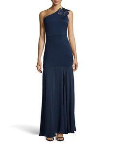 Halston Heritage Ponte One-Shoulder Evening Gown, Navy