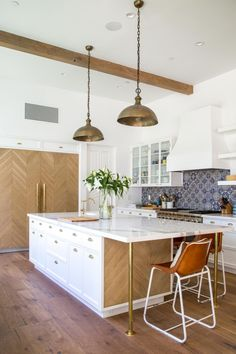 Kitchen Island with White Oak Planks and Brass Legs
