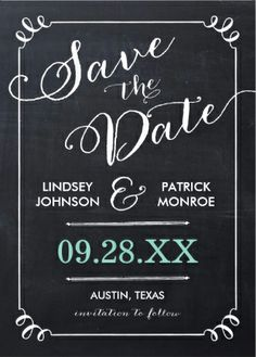 #Save_the_date invitations cute vintage black and white w/ turquoise date wedding invitations. Easy to customize!