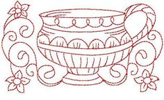 simple embroidery designs for beginners | Embroidery: Redwork Teacup 1 Hand Embroidery 3 Sizes