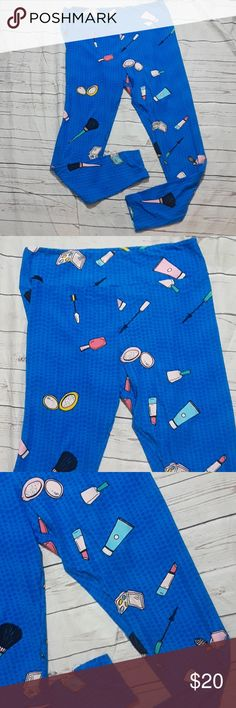 Lula Roe Leggings make up print blue Adorable Lula Roe Leggings I. Great condition no holes or stains size tall and curvy the pants measure 16 inches across the waist and the lenght is an inseam.if 29. LuLaRoe Pants Leggings