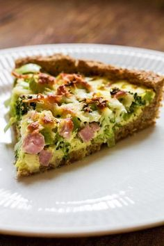 Ham pie with broccoli and whole grains Tapas Recipes, Greek Recipes, Mexican Food Recipes, Cooking Recipes, Healthy Recipes, Quiche Vegan, Broccoli, Food Porn, Easy Food To Make