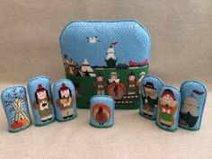 Thanksgiving Stand-up Set ~needlepoint canvases by Kathy Schenkel