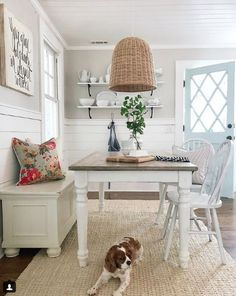 How perfect is this set up? Not to mention that cute little pup to top it off! Definitely house goals right here! Photo Cred: Blue Barn & Cottage Home Decor Ideas Decorations DIY Home Make Over Furniture Decor, Family Room Paint Colors, Family Room Paint, Grey Laundry Rooms, Diy Home Decor, Home, Agreeable Gray, Home Decor, Dining Room Inspiration