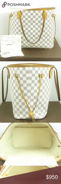 2014 Louis Vuitton Neverfull MM DA Damier Azur LV 100% Authentic Real Genuine LV handbag purse tote  Louis Vuitton Neverfull MM in Damier Azur DA with Beige Interior (no pouch or wristlet or wallet included!)  Great Condition 8/10 No Cracks/major blemishes, or dried leather.  Minor dirt inside, patina, & see pic 5.   Date code SD0124 (2014) Made in USA  *Comes w/Original Dust Bag & copy of reciept*  Previously Authenticated by Posh Concierge   Like us on Facebook! @ModaByBoutique Moda…