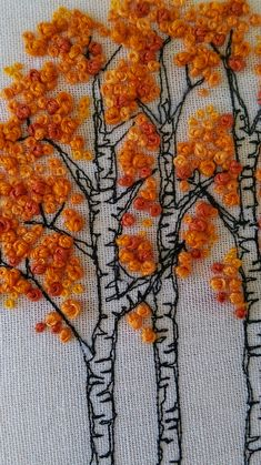 Beech Trees by Helen Newton Beech Trees by Helen Newton , Hand Embroidery Stitches, Embroidery Techniques, Ribbon Embroidery, Embroidery Art, Cross Stitch Embroidery, Embroidery Patterns, Machine Embroidery, Knitting Blogs, Cross Stitching