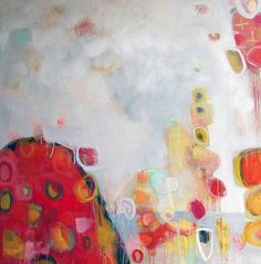 """Annie O'Brien Gonzales-Contemporary Expressionist Artist: Contemporary Abstract Mixed Media Painting """"Tulipm..."""